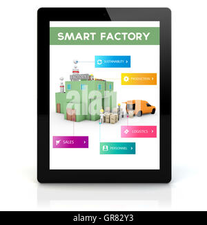 industry concept: render of a tablet pc with  factory automation control on the screen. Screen graphics are made - Stock Photo