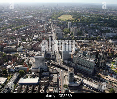 aerial view looking south down the A5 Edgware Road, London from the A4 to Hyde Park Corner, UK - Stock Photo