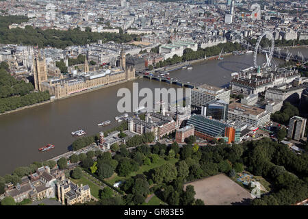 aerial view of St Thomas' Hospital in Lambeth, Houses of Parliament & Millennium Wheel, London, UK - Stock Photo