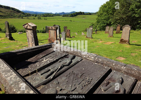 Scotland, cemetery of Kilmartin, crypt with more than 500 year-old grave records - Stock Photo
