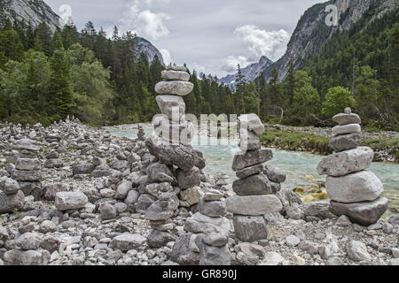 Stone Men In The Young Isar In Hinterautal Valley - Stock Photo