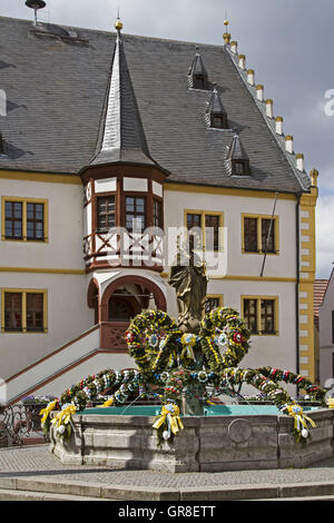 Gorgeous Colors Decorated Easter Fountain In The Town Square In Volkach - Stock Photo