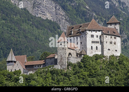 Burg Guttenberg Is A High Medieval Castle In The Town Of Balzers In Liechtenstein - Stock Photo