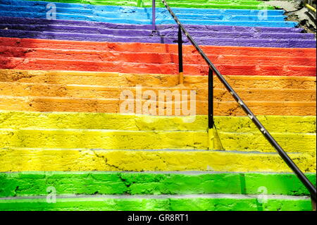 Colorful Levels In The Beyoglu District Of Istanbul - Stock Photo