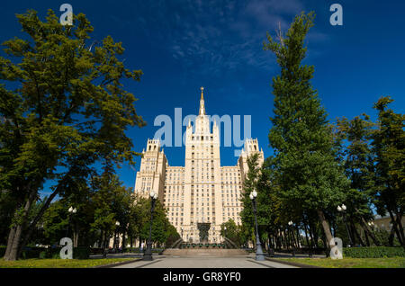 High-rise Kudrinskaya Square Building is one of Seven Sisters. - Stock Photo