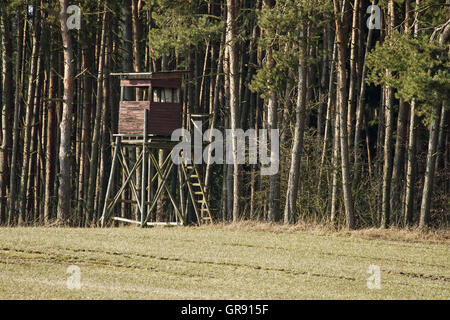 High Seat Of A Hunter On The Edge Of The Forest - Stock Photo
