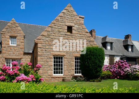 House On The Brittany Coast, Brittany, France - Stock Photo