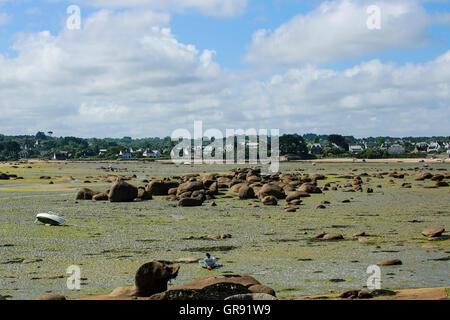 Boats At Low Tide In A Bay Near Ploumanach, Brittany - Stock Photo