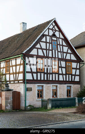 Gable Of An Old Half-Timbered House On A Side Street In Thuringia, Germany - Stock Photo