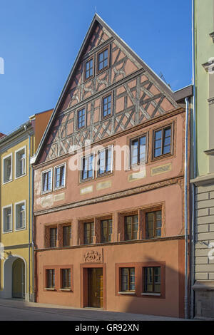 Renovated Half-Timbered House In The Pößnecker Downtown, Thuringia, Germany, Europe - Stock Photo