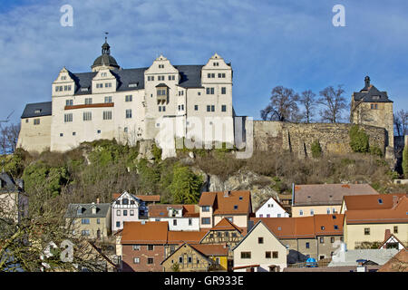 Looking For Ranis And Parts Of The Old Town Houses In Sunshine And Clouds, Thuringia, Germany, Europe - Stock Photo