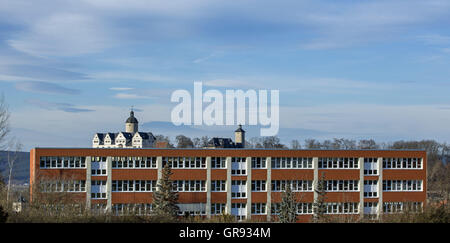 Overlooking The Castle Ranis With The School In The Foreground, Thuringia, Germany, Europe - Stock Photo