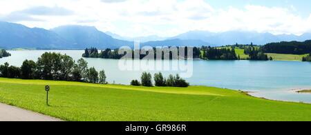 Forggensee Near Füssen In Bavaria Panorama In Summer - Stock Photo