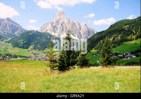 Sassongher In South Tyrol View From Corvara - Stock Photo