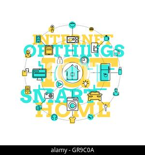 Smart Home And Internet Of Things Line Art - Stock Photo
