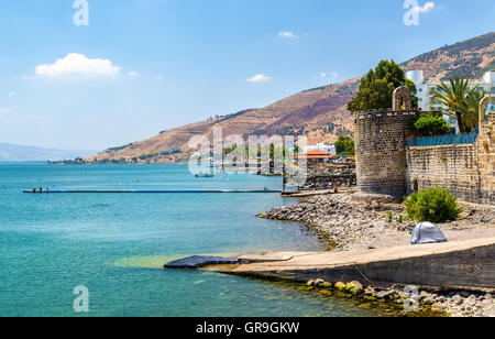 The Leaning Tower erected by Zahir al-Umar in Tiberias - Stock Photo