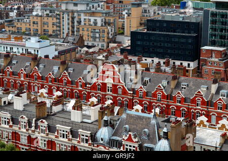 view from above on city of london and victorian residenital houses, UK, Great britain - Stock Photo