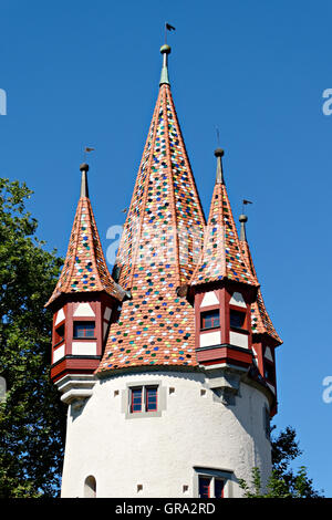 Diebsturm tower, Lindau on Lake Constance, Lindau, Swabia, Bavaria, Germany, Europe - Stock Photo