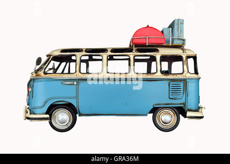 old blue van toy over white background - Stock Photo