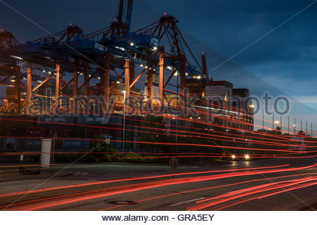 Hamburg Harbour With Container Terminal - Stock Photo