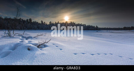 Winter On Curbar edge - Stock Photo