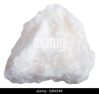 macro shooting of mineral resources - white anhydrite rock isolated on white background - Stock Photo