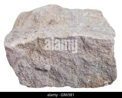 macro shooting of sedimentary rock specimens - Dolomite (dolostone) mineral isolated on white background - Stock Photo