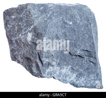 macro shooting of sedimentary rock specimens - Argillite (mudstone) stone isolated on white background - Stock Photo