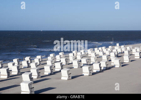 Beach Chairs On The Main Beach, Wangerooge, East Frisian Island, East Frisia, Lower Saxony, Germany, Europe - Stock Photo
