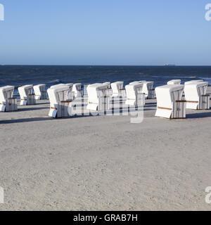 Beach Chairs On The Beach, Wangerooge, East Frisian Island, East Frisia, Lower Saxony, Germany, Europe - Stock Photo