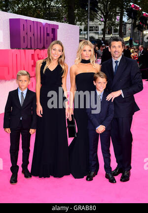 Patrick Dempsey, Jillian Fink and family attending the world premiere of Bridget Jones's Baby at the Odeon cinema, - Stock Photo