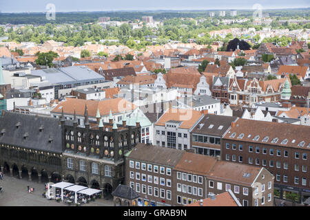 View From The Tower Of The Petri Church To Lübeck With The Town Hall, Lübeck, Hanseatic City, Unesco World Heritage - Stock Photo