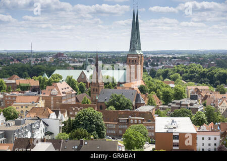 View From The Tower Of St. Petri To Lübeck, Hanseatic City Of Lübeck, Unesco World Heritage Site, Schleswig-Holstein, - Stock Photo