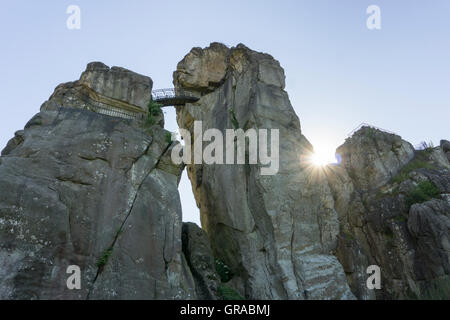 Externsteine, Sandstone Rock Formations, Horn-Bad Meinberg, Teutoburg Forest, North Rhine-Westphalia, Germany, Europe - Stock Photo