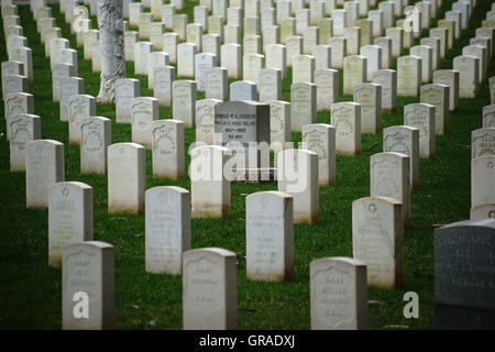 Grave Stones In A Row - Stock Photo