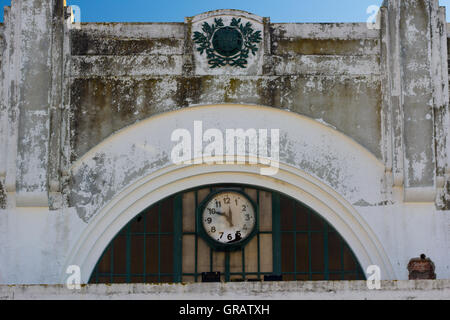 Low Angle View Of Clock On Old Building - Stock Photo