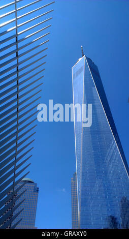 World Trade Center Tower One next to the Transportation Hub Oculus. - Stock Photo