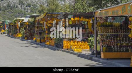 Fruit And Vegetable Stalls In The Neretva Delta With A Variety Of Fruits And Other Products From The Neretva Region - Stock Photo