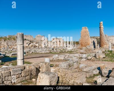 Perge Hellenistic Gate With The Towers And The Southern Baths - Stock Photo