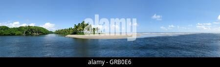 The Mouth Of The Nariva Swamp In The Atlantic Ocean On The East Side Of Trinidad - Stock Photo