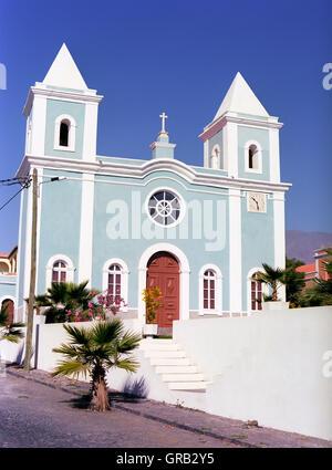 Local church, San Felipe, Fogo, Cape Verde Islands, Africa - Stock Photo