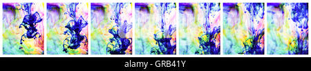 Sequence of 7 images, close-up of ink flowing through water, - Stock Photo