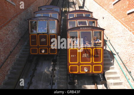The Siklo funicular in Budapest that runs from the top of Castle Hill to the Lanchid (Chain Bridge) - Stock Photo