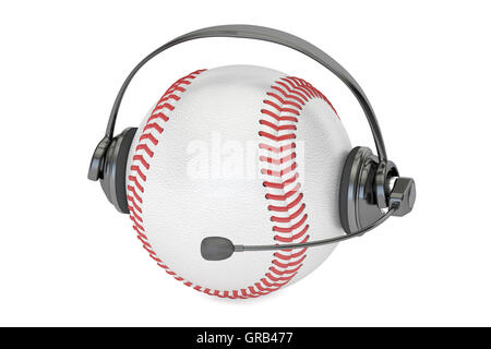 baseball ball with headset or headphones 3D rendering - Stock Photo