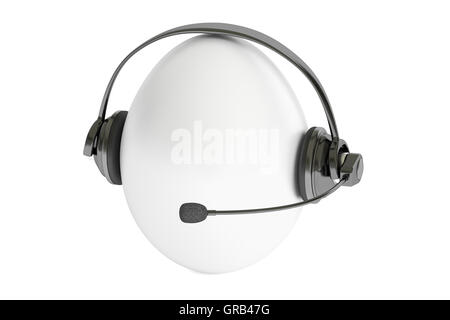 egg with headset or headphones 3D rendering - Stock Photo