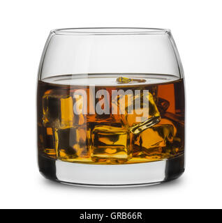 Glass of scotch whiskey with ice cubes isolated on white - Stock Photo