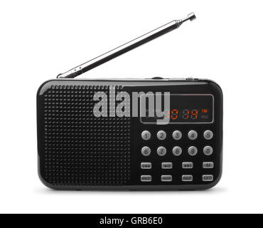 Pocket FM radio mp3 player isolated on white - Stock Photo