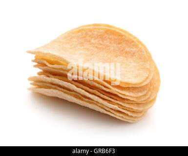 Stack of potato chips isolated on white - Stock Photo