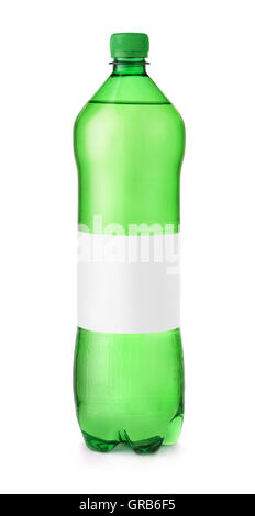 Green plastic water bottle with blank label isolated on white - Stock Photo