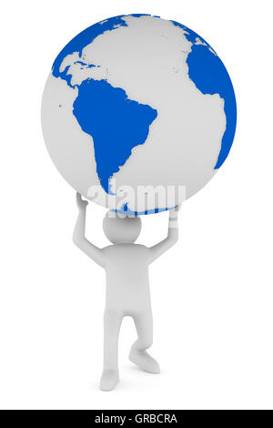 man and globe on white background. Isolated 3D image - Stock Photo
